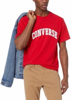 Converse Men's Collegiate Text Short Sleeve T-Shirt Enamel red L