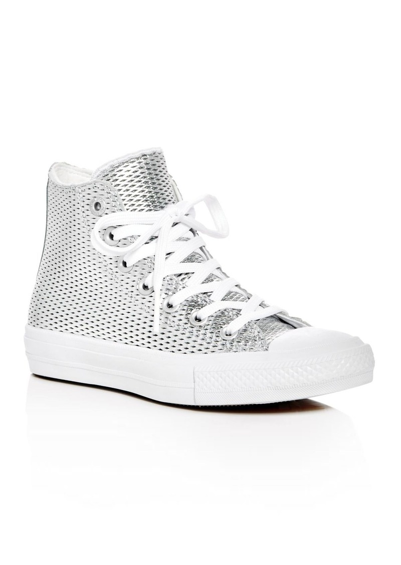 3932ec56f735 Converse Women s Chuck Taylor All Star II Metallic Perforated High Top  Sneakers