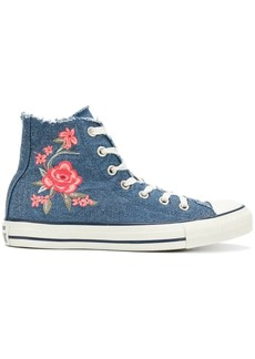 Converse frayed denim floral sneakers
