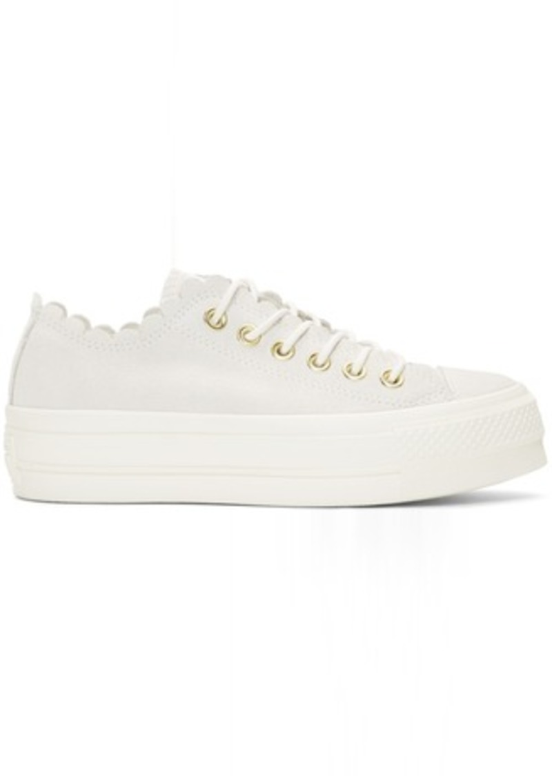 Converse Off White Suede Chuck Taylor All Star Lift Frilly Thrills Sneakers | Shoes