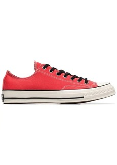 Converse red eyelet detail low-top cotton sneakers