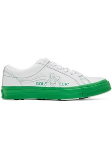 Converse White & Green Golf le Fleur* OX Sneakers