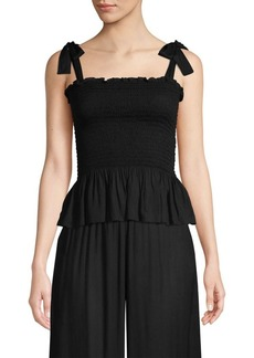 coolchange Holly Tie-Strap Smocked Peplum Top