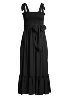 coolchange Priscilla Solid Tie Midi Flounce Dress