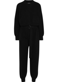 Cordova Woman Belted Wool Silk And Cashmere-blend Jumpsuit Black