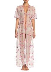 Cosabella Bette Embroidered Long Kimono Robe