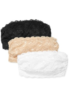 Cosabella Never Say Never Flirtie Set Of Three Cotton-blend Lace Bandeau Bras
