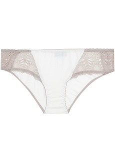 Cosabella Woman Bacall Lace-paneled Stretch-modal Mid-rise Briefs Ivory