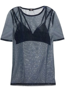 Cosabella Woman Bisou Holographic Mesh And Stretch-jersey T-shirt And Bralette Set Midnight Blue