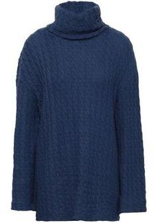 Cosabella Woman Cable-knit Cotton-blend Turtleneck Top Cobalt Blue
