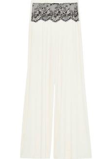 Cosabella Woman Delight Chantilly Lace-paneled Modal-blend Jersey Pajama Pants Off-white