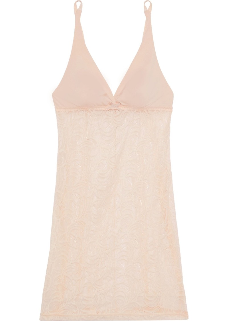 Cosabella Woman Evolved Jersey-paneled Stretch-lace Chemise Neutral