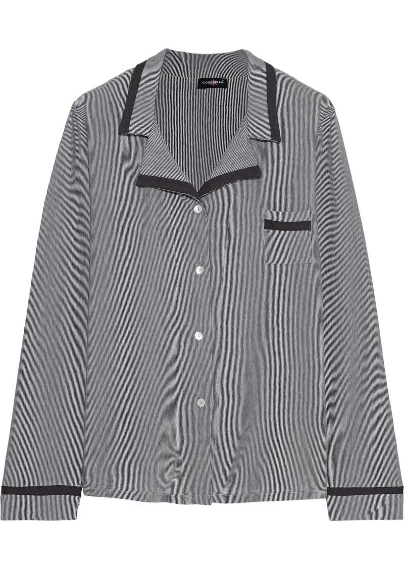 Cosabella Woman Hustle Striped Stretch-micro Modal Pajama Top Grape