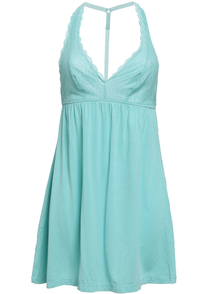Cosabella Woman Lace And Micro Modal-blend Jersey Chemise Mint