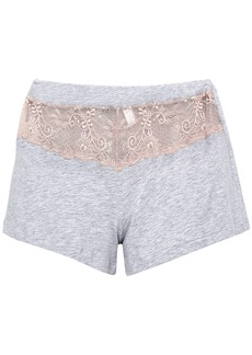 Cosabella Woman Lace-paneled Mélange Cotton-blend Pajama Shorts Light Gray