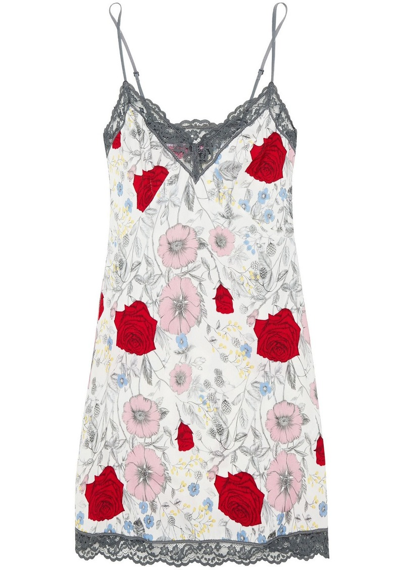 Cosabella Woman Lace-trimmed Floral-print Twill Chemise Ecru