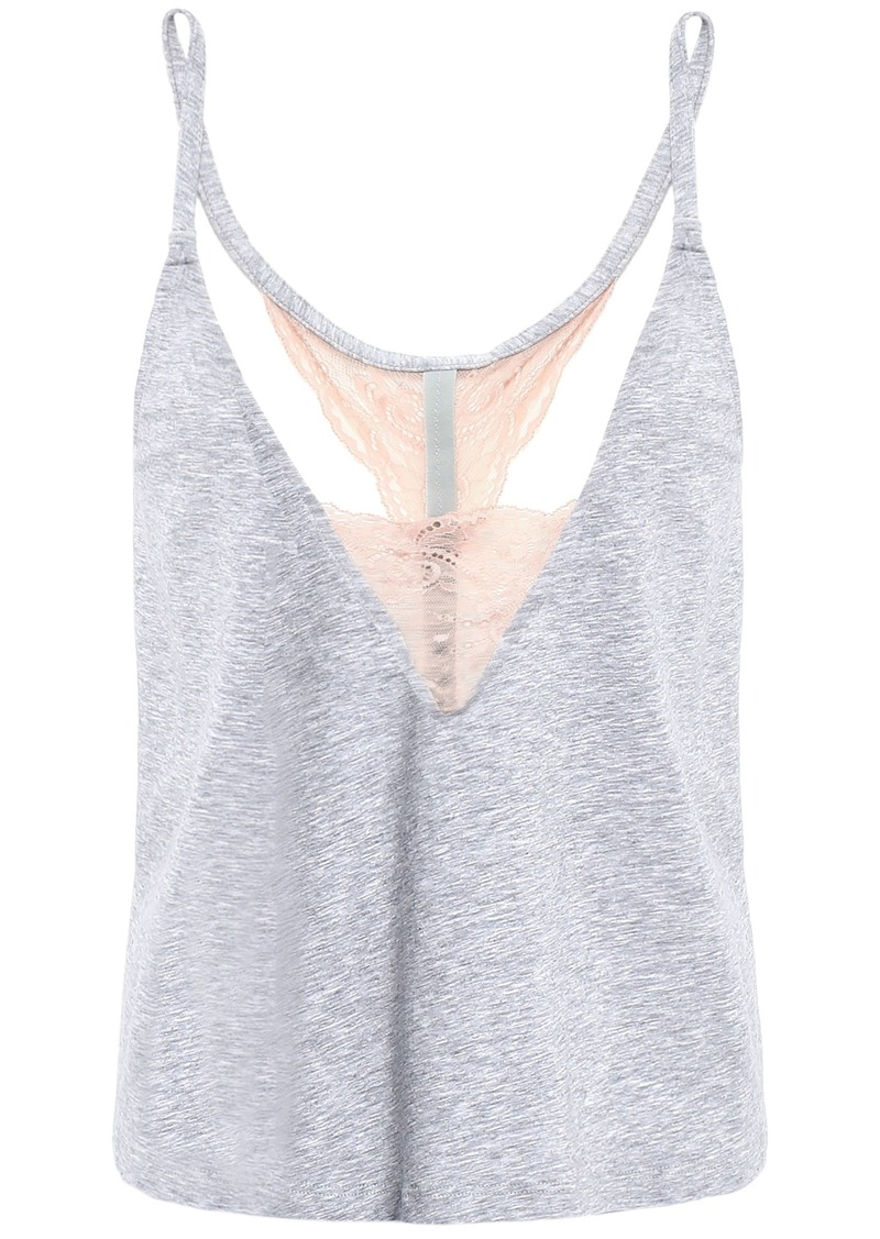 Cosabella Woman Lace-trimmed Mélange Cotton-blend Jersey Camisole Light Gray