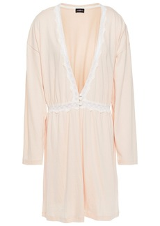 Cosabella Woman Lace-trimmed Pima Cotton And Modal-blend Jersey Robe Blush