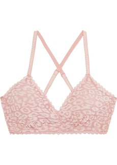 Cosabella Woman Mesh Temptations Flocked Stretch-mesh Soft-cup Triangle Bra Blush