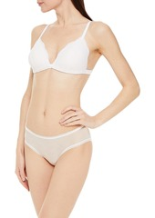 Cosabella Woman Mesh Temptations Lace-trimmed Stretch-mesh Low-rise Briefs Off-white