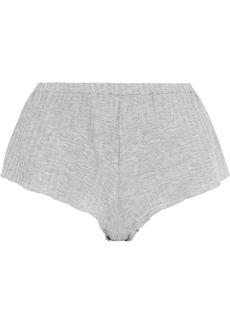 Cosabella Woman Minimalista Metallic Ribbed Jersey Pajama Shorts Silver