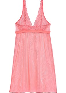Cosabella Woman Minoa Lace-paneled Stretch-mesh Chemise Coral