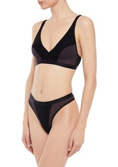 Cosabella Woman Mixed Meshages Jersey-paneled Stretch-mesh Bralette Black