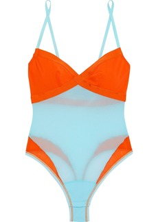 Cosabella Woman Mixed Meshages Two-tone  Stretch-mesh Thong Bodysuit Sky Blue