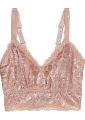 Cosabella Woman Natalia Metallic Stretch-leavers Lace Bralette Rose Gold