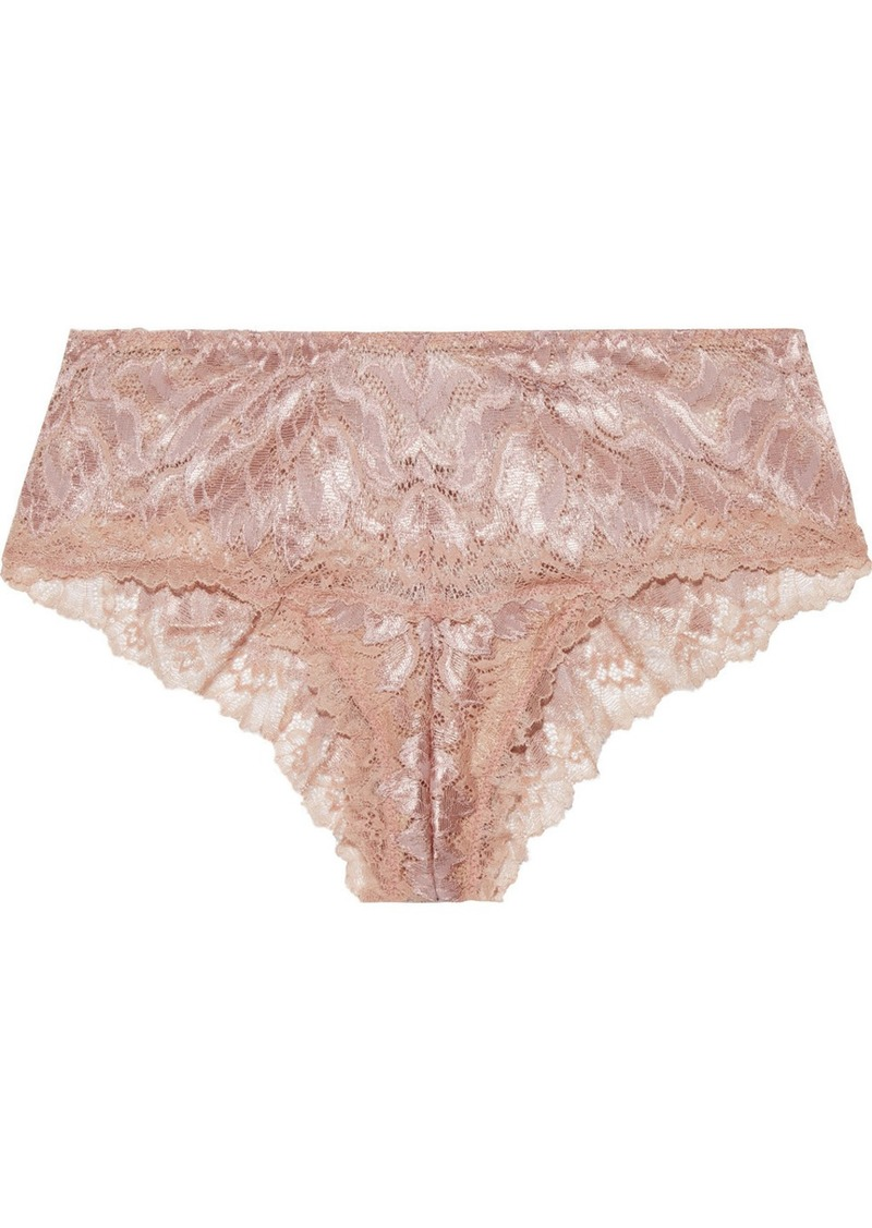 Cosabella Woman Natalia Metallic Stretch-leavers Lace Low-rise Briefs Rose Gold