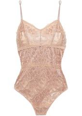 Cosabella Woman Natalia Stretch-leavers Lace Bodysuit Taupe