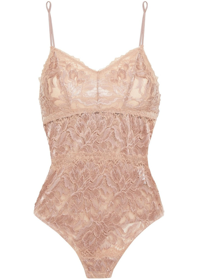 Cosabella Woman Natalia Stretch-leavers Lace Bodysuit Taupe