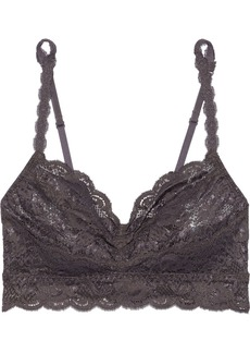Cosabella Woman Never Say Never Sweetie Ruched Stretch-leavers Lace Soft-cup Bra Anthracite