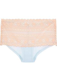 Cosabella Woman Oceano Leavers Lace And Point D'esprit Mid-rise Briefs Pastel Orange