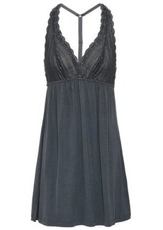 Cosabella Woman Point D'esprit And Modal-blend Jersey Chemise Anthracite