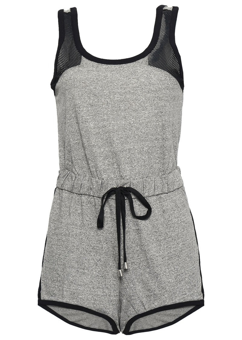 Cosabella Woman Portofino Mesh-paneled Mélange Cotton-blend Jersey Playsuit Dark Gray