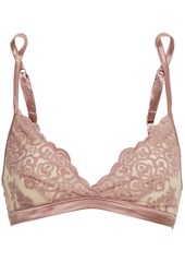 Cosabella Woman Satin-trimmed Stretch-mesh And Lace Soft-cup Bra Antique Rose