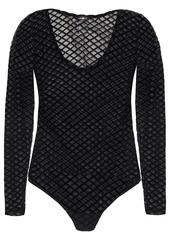 Cosabella Woman Flocked Stretch-mesh Bodysuit Black