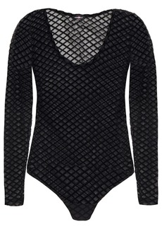Cosabella Woman Flocked Stretch-mesh Bodysuit Black