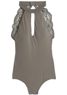 Cosabella Woman Open-back Lace-trimmed Cotton-blend Jersey Thong Bodysuit Army Green