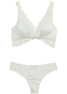 Cosabella Woman Stretch-lace And Jersey Bralette And Mid-rise Thong Ivory