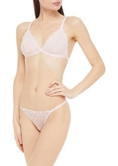 Cosabella Woman Stretch-lace Soft-cup Triangle Bra And Low-rise Thong Set Baby Pink