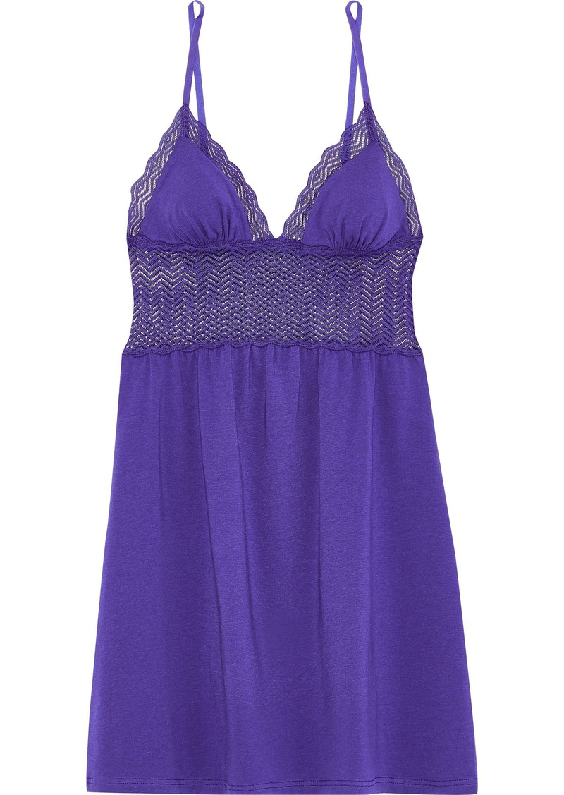 Cosabella Woman Sweet Treats Lace-paneled Cotton-blend Jersey Chemise Violet