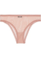 Cosabella Woman Temptations Lace-trimmed Mesh Briefs Antique Rose
