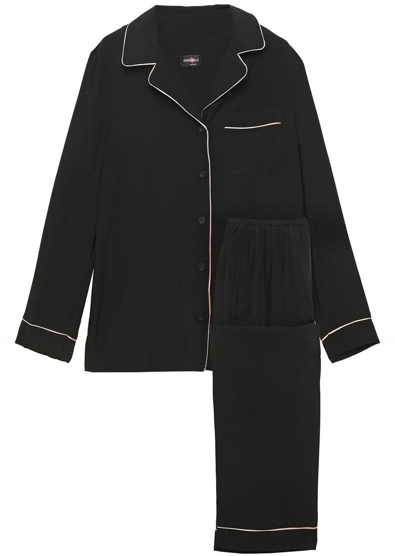 Cosabella Woman Bella Luxe Washed-twill Pajama Set Black