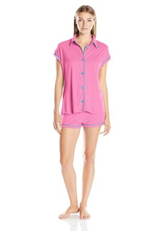 Cosabella Women's Bella Capsleeve Top and Boxer Pj Set Canyon Pink/Blue