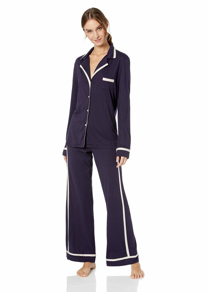 Cosabella Women's Bella Long Sleeve Top & Pant Pajama Set Raven/Pink dust