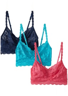 Cosabella Women's Never Say Never 3-Pack Sweetie Soft Bra Navy Blue/Miami Pink/Blu Mediterraneo