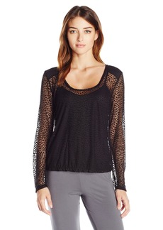 Cosabella Women's Ziegfeld Sleepwear Longsleeve Ls Top Burnout/Black