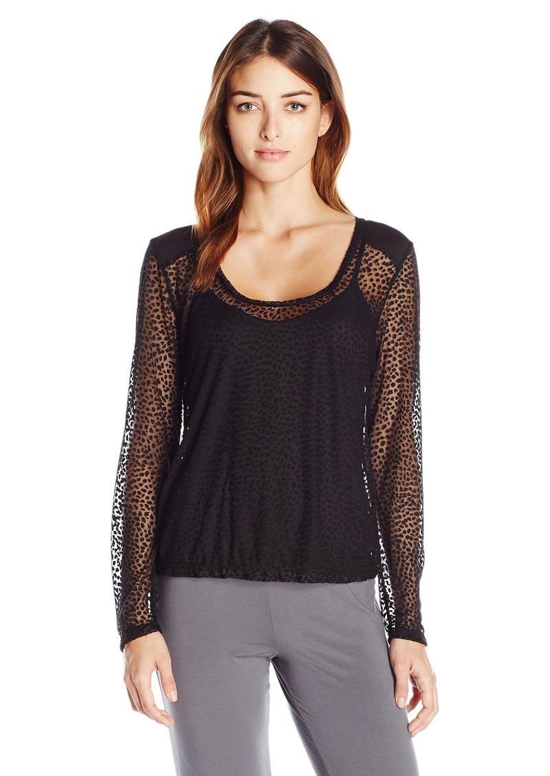 Cosabella Women's Ziegfeld Sleepwear Longsleeve Ls Top Burnout/Black